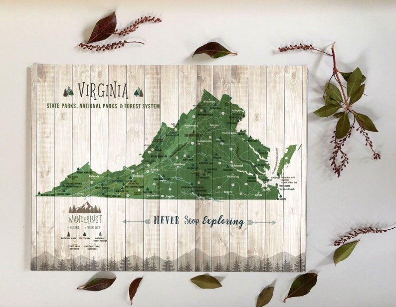 Virginia Map Wall Art, Virginia is for Lovers, State parks checklist,  Virginia Gifts, State parks decor, Hiking trails, Push Pin map