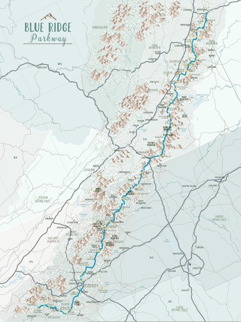 Blue Ridge Mountain Poster Blue Ridge Parkway Map Virginia | Etsy