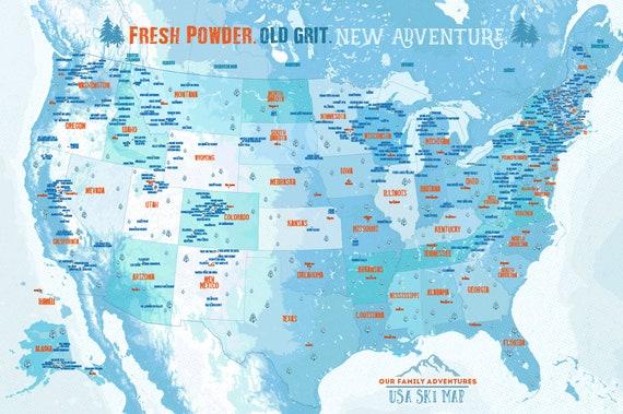 Ski Resorts Decor Gift For Snowboarder Push Pin Map On Foam Etsy