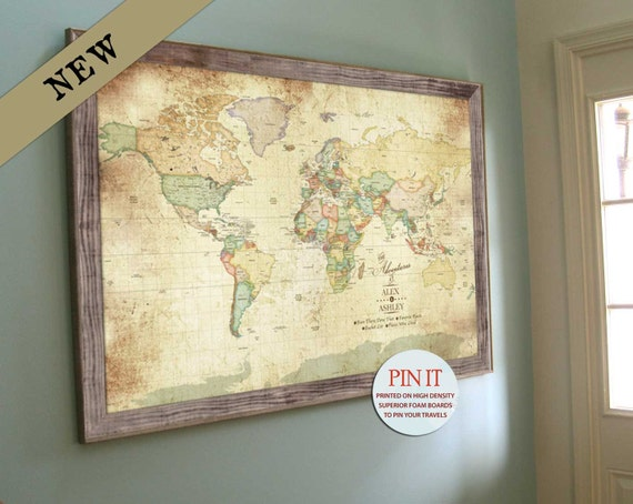 Framed World Map With Push Pins Vintage style Map Push Pin map Ancestry maps Map for Living | Etsy