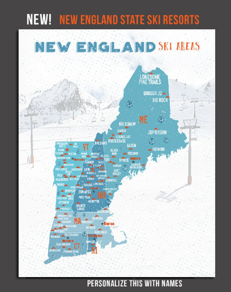 Skiing New England Map.New England Ski Resorts Push Pin Map Gift For Skiers Gift Etsy