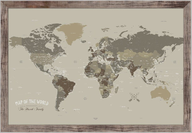 Push Pin Map 20x30 Inches Framed World Map World Map Wedding Etsy