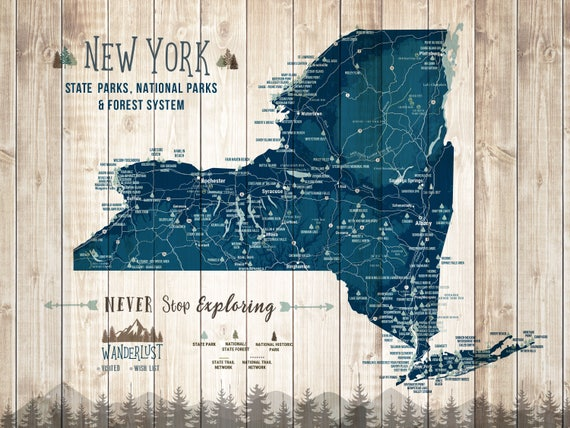 New York Wall Art New York Map Gifts State Parks Posters | Etsy