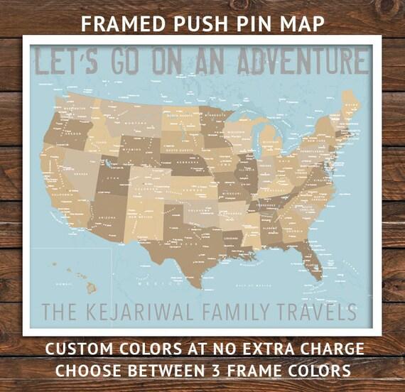 usa map flight attendant gifts push pin map framed america etsy
