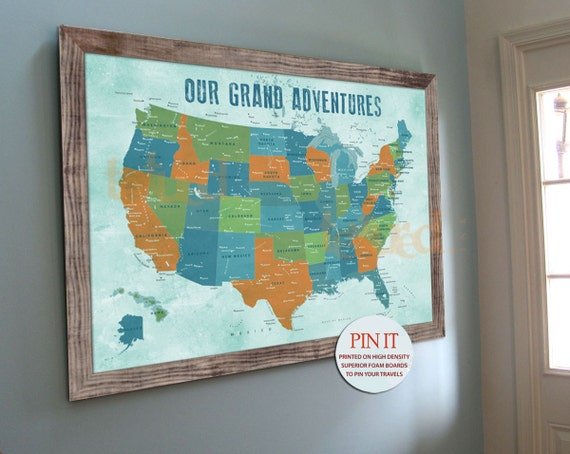 Us Map Push Pin Board Family Travel Wall America Trips Etsy - Us-travel-map