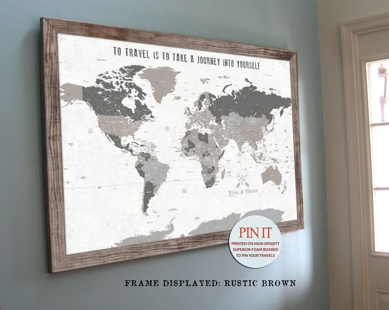 Map Art Rustic Decor Push Pin Map World Map Barnwood Frame | Etsy