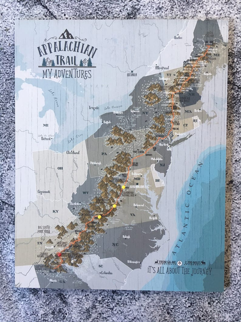 Push Pin Board Appalachian Trail Map for Push Pins | Etsy