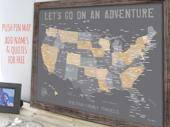 Usa Map Map Of United States Family Travel Decor Framed Etsy