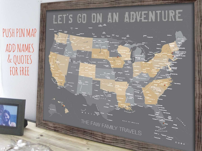 USA Map Map of United States Family Travel decor Framed   Etsy Framed Map Of United States on