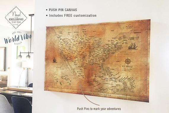 push pin travel map world map pin board map with pins etsy