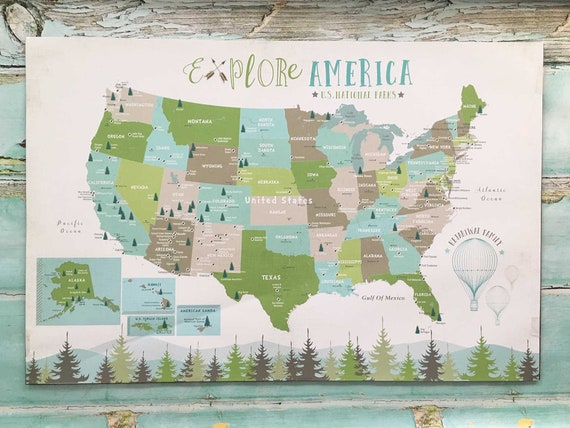 National Park Poster, National Park Map for Kids, Push Pin Map, National  Parks Map, Personalized Map, Many Sizes, WVS