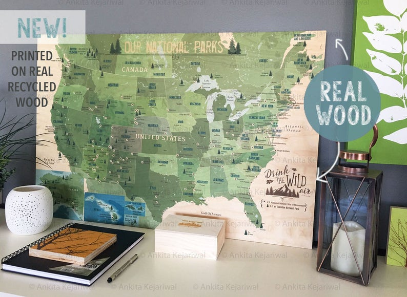 National Park Map on Wood Real Wood Print Gift for hiker | Etsy