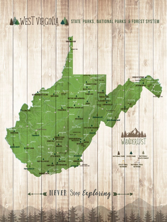 West Virginia Map, Wall Art, State Signs, State parks Art, Gift for Camper,  Wanderlust gifts, West Virginia Art, Push Pin board, Git for mom