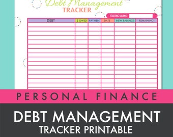 Debt Management Tracker Worksheet Printable PDF - INSTANT DOWNLOAD