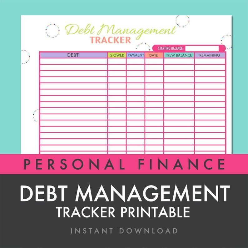 photograph relating to Debt Worksheet Printable titled Personal debt Regulate Tracker Worksheet Printable PDF - Fast Obtain