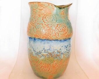 Large Hand-Built Stoneware Pottery Vase with Lace Texture, Natural Rim, WabiSabi, Green, Orange, Flow Blue, White