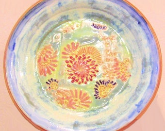 Stoneware Pottery Turkey Platter, Plate, Thanksgiving Tray, Ready to hang, Embossed Flowers, Mums, Blue, Orange, Red, Green