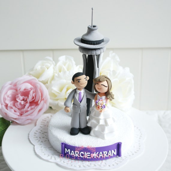 Custom Wedding Cake Topper At Space Needle In Seattle Etsy