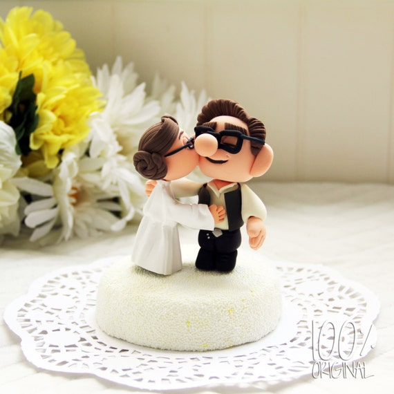 Custom wedding cake topper star wars kissing couple up etsy image 0 junglespirit Images