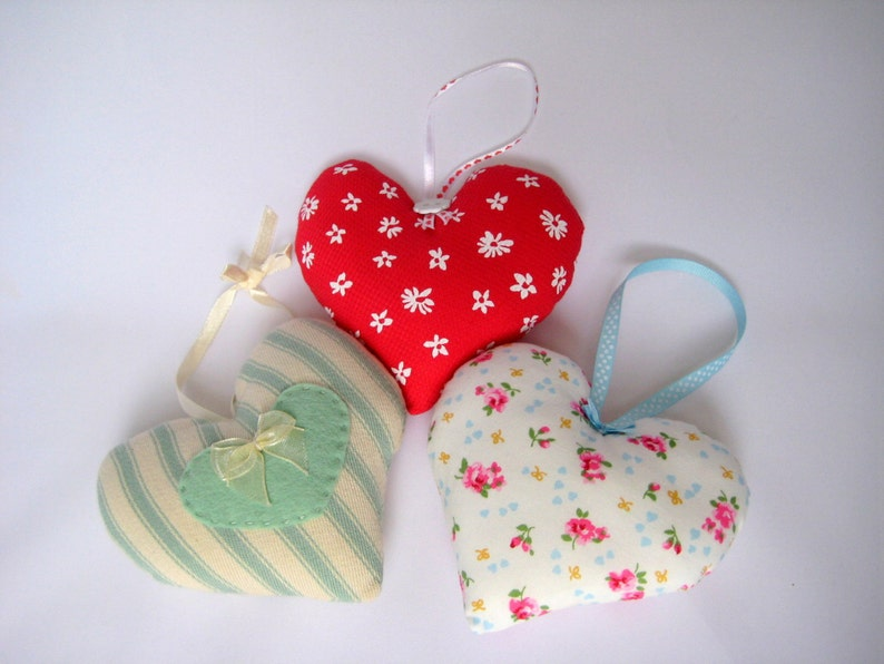 Hanging Heart Home Decor Cottage chic Florals or Stripes