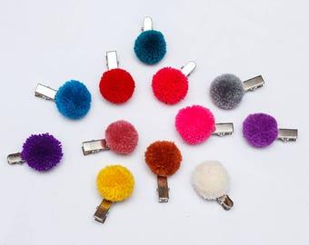 Hmong pompoms Hair Clip/ 2 cm pompom hair clip/colorful/Wholesale