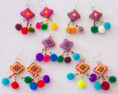 Hmong Crosstitch Earring /Accessories/ Ethnic/ Embroidery /Colorful /Tribal /Wholesale