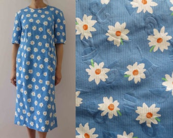 d5431cce561e Vintage 80s Cornflower Blue White Daisy Cotton Pique Shift Dress Medium