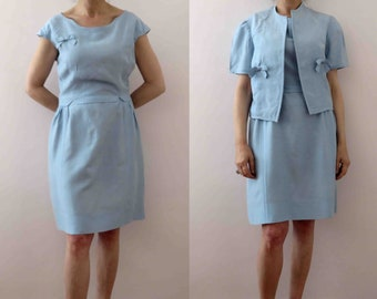 793eb7a8c8209a Vintage 60s Duck Egg Blue Silk Shantung Dress with Jacket