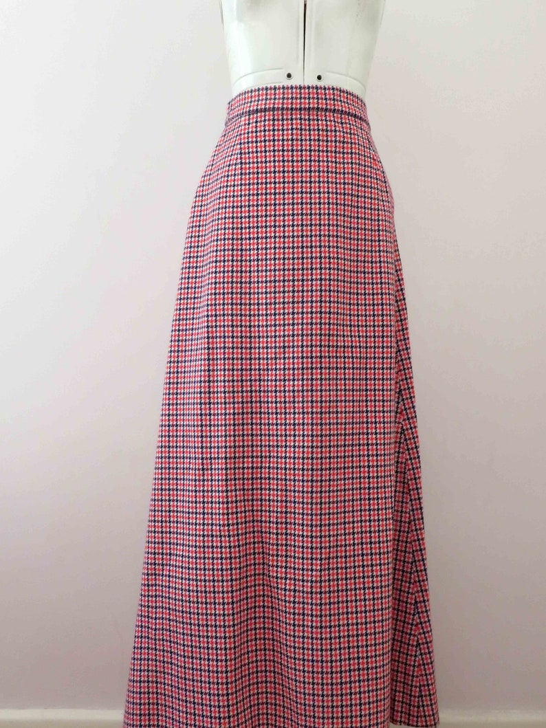 70s Bonded Wool A Frame Hounds Tooth Maxi Skirt Extra Small