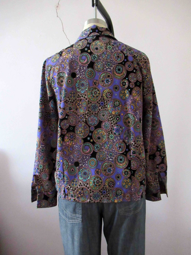 70s Retro Purple Psychedelic Polyester Button Up Blouse Small Medium