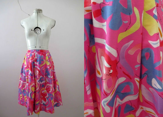 Vintage 80s Handmade Floral Print Skirt Small