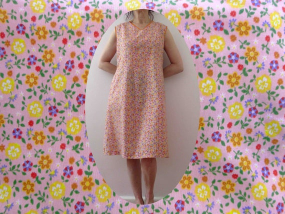 Vintage 80s Handmade Shift Dress Pink Floral Small