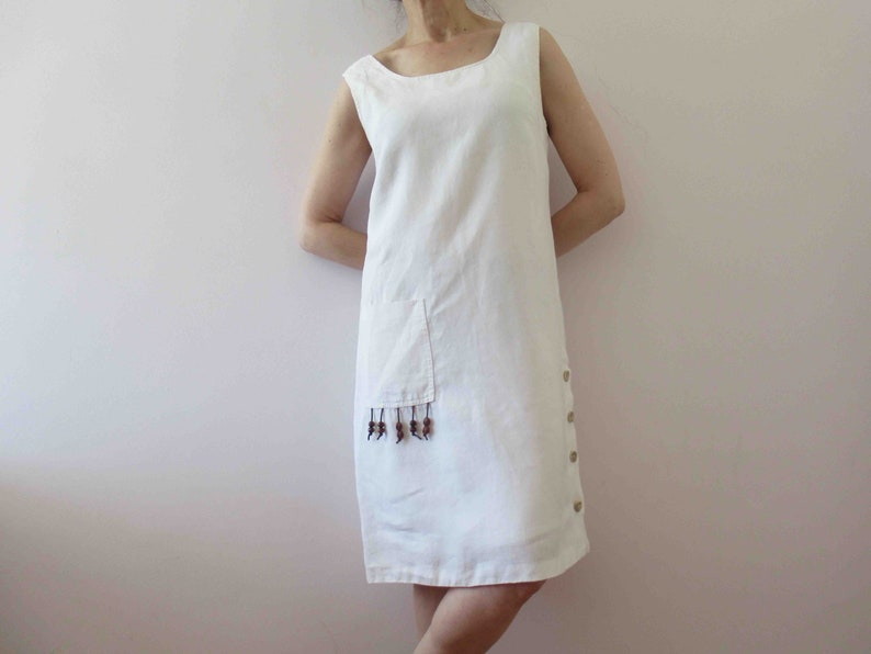 90s White Linen Shift Dress Small Medium