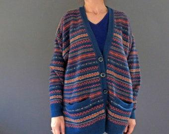 80s Teal Blue Green Fair Isle Knit Wool V Neck Cardigan