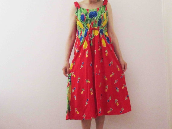 Vintage 90s tulip print dressdeadstock 90s dressgreen brown yellow dress90s floral dressfloral summer dresstank top dress