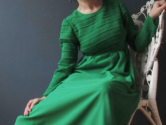 Vintage 70s Emerald Green Shirred Boho Maxi Dress
