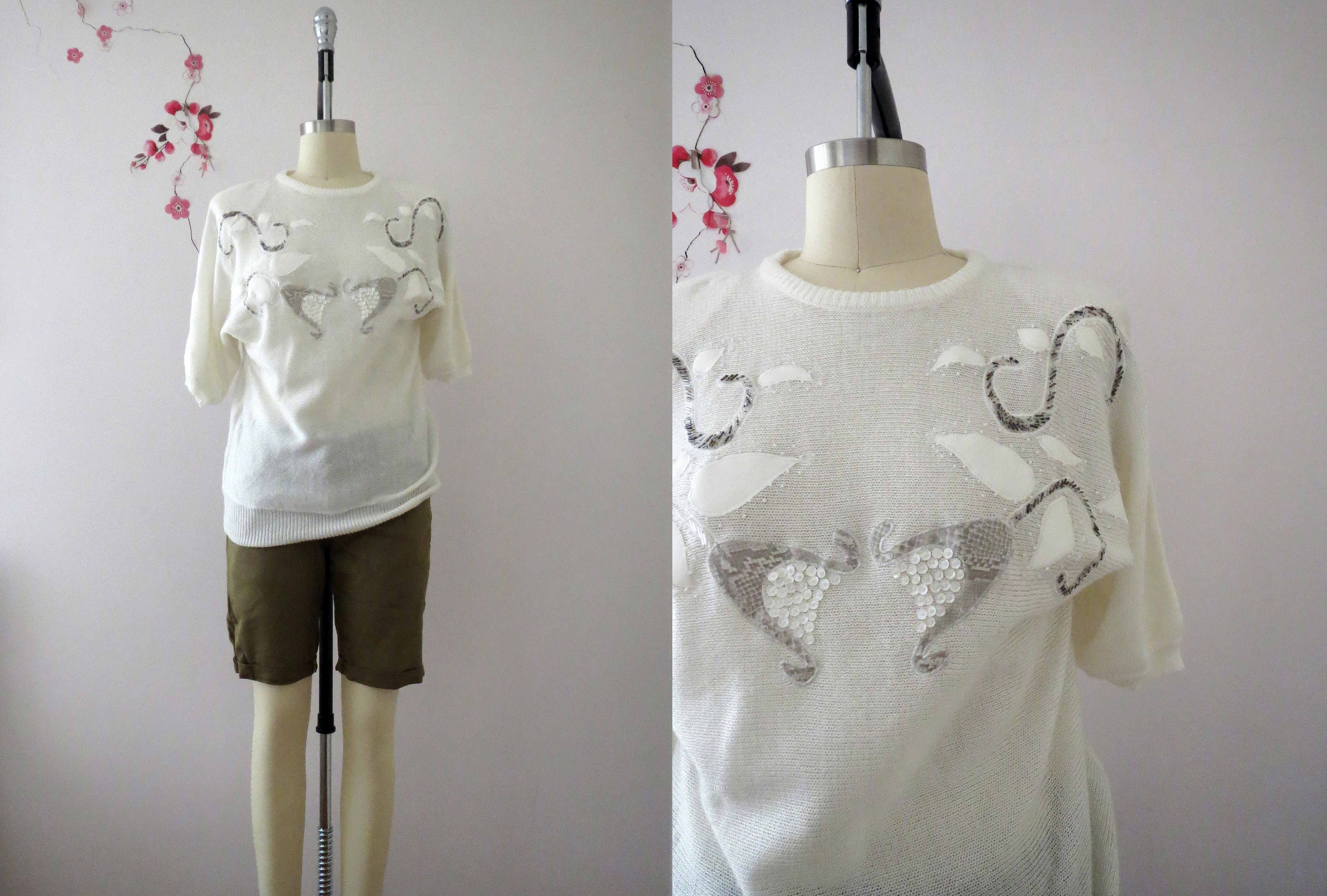 80s white batwing knit applique embellished sweater jumper top etsy
