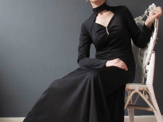 Vintage 70s Black Keyhole Maxi Dress Small