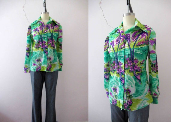 70s Watercolor Floral Sleeveless Blouse Collared Groovy Artsy Top Size Small