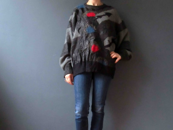 80s Black Grey Mohair Wool Angora Leather Crazy Kn