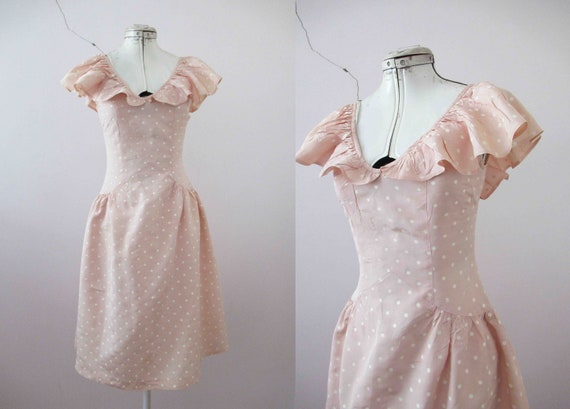 80s does 50s Blush Beige Polka Dot Dress Small