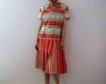 Vintage 50s 60s Orange Taupe Pleated Shirt Dress Medium Large
