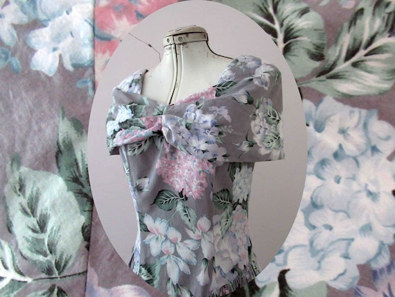 80s does 50s Floral Cotton Dress Small