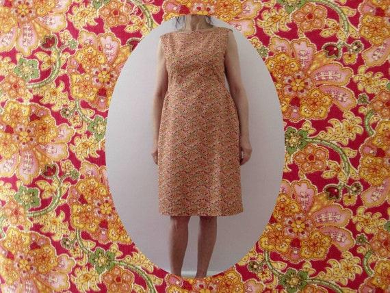 Vintage 80s Handmade Shift Dress Orange Floral Sma