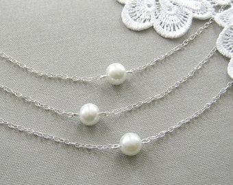 SET of 7 bridesmaid necklaces, single pearl bridesmaid necklace, bridesmaid gift wedding pearl jewelry white ivory - custom color W001S