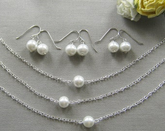 SET of 5 single pearl bridesmaid necklace and earring set, bridesmaid necklaces, gifts wedding jewelry white ivory - custom color W001S