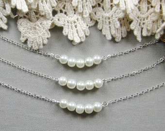 SET of 6 Simple chic pearl necklace, bridesmaid necklace, bridesmaid necklaces, custom wedding jewelry white ivory pearl W041