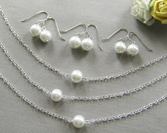 SET of 3 single pearl bridesmaid necklace and earring set, bridesmaid necklaces, gifts wedding jewelry white ivory - custom color W001S