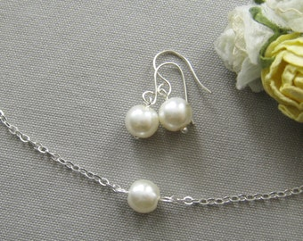 single pearl bridesmaid necklace and earring set, bridesmaid necklaces, gifts wedding jewelry white ivory - custom color W001S