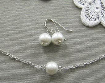 single pearl bridesmaid necklace and earring set, bridesmaid necklace, bridesmaid gift wedding pearl jewelry white ivory custom color W001S